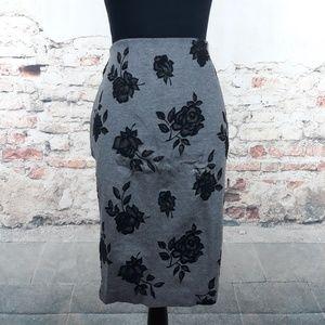 WHBM 10 Gray Black Velvet Floral Pencil Skirt